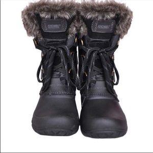 Khombu black duck snow rain faux fur boots 8
